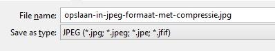 Opslaan in JPEG formaat