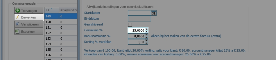Percentage op commissieregel aanpassen