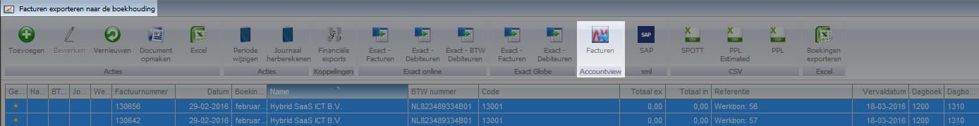 Verkoopregels exporteren naar Accountview