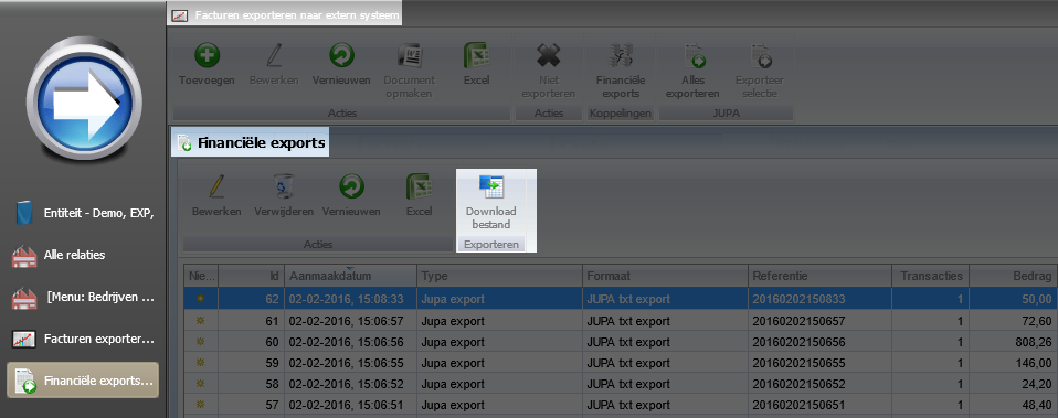 Export bestand downloaden